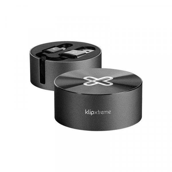 Cable KlipX Retractil USB-C a USB-A 2.1Amp Plano Negro