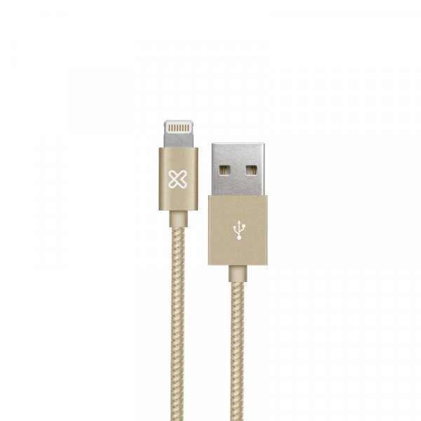 Cable KlipX Lightning Tejido Iphone 100Cm color Gold