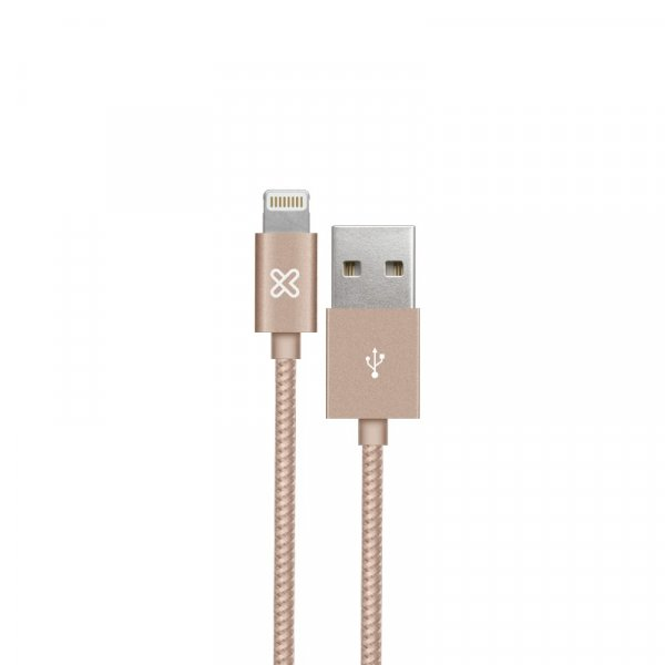 Cable KlipX Lightning Tejido Iphone 100Cm color Rose Gold