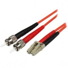 Cable Adaptador de Red de 2m Multimodo Dúplex Fibra Óptica LC-ST 50/125 - Patch Duplex