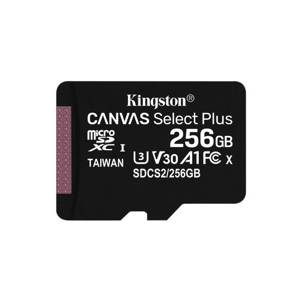 Memoria MicroSDXC Kingston 256GB Canvas Select Plus 100R/85R, Class 10 UHS-I