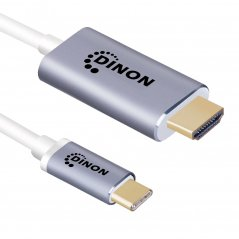 Cable USB-C 3.1 a HDMI 4k 3 mts Conector Metálico Gris